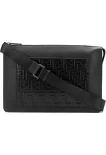 Fendi Logo Embossed Shoulder Bag - Preto
