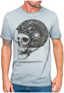 Camiseta Urza Skull Rider Marmorizada Cinza