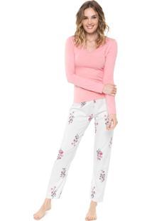 Pijama Malwee Liberta Floral Rosa/Off-White