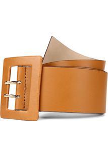 Cinto Couro Shoestock Básico Color Feminino - Feminino-Bege