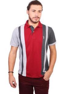 Camisa Polo Golf Club Trios - Masculino-Chumbo+Vinho