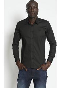 Camisa Slim Fit Com Bordado & Botãµes - Preta- M. Offm. Officer