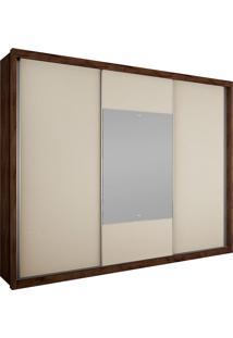 Guarda-Roupa Casal 3 Portas Com Espelho Arezzo Gold Bg- Novo Horizonte - Canela / Off White