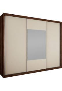 Guarda-Roupa Casal Com Espelho 3 Portas Arezzo Gold Bg- Novo Horizonte - Canela / Off White