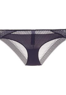 Calvin Klein Underwear Calcinha Perfurada Com Renda - Azul