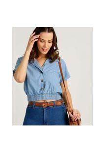 Blusa Feminina Cropped Jeans Botões Marisa