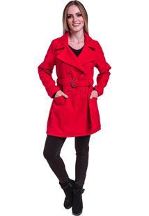 Sobretudo Jaqueta Inverno Frio Lã Batida Acinturado Com Cinto Vermelho