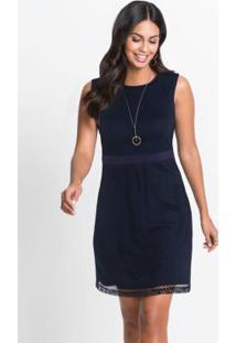 Vestido Em Renda Com Botões Azul Marinho