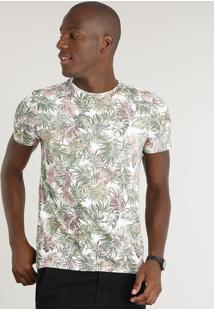 Camiseta Masculina Slim Fit Estampada De Folhagem Manga Curta Gola Careca Branca 1