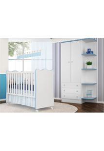 Jogo Quarto Infantil Guarda Roupa E Berço Simples Doce Sonho Branco/Azul - Qmovi