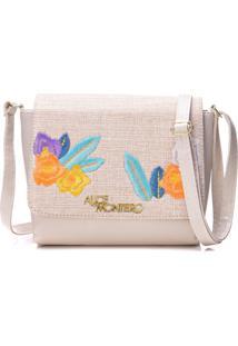 Bolsa Alice Monteiro Com Tampa Bordado Floral - Off White