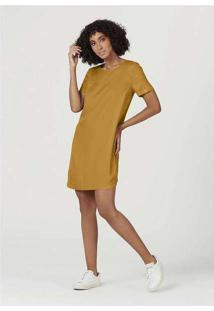Vestido Curto Em Viscose Sarjada Amarelo