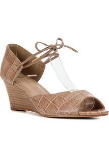 Peep Toe Couro Shoestock Anabela Croco Amarração - Feminino