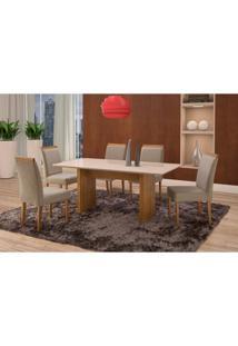 Conjunto De Mesa De Jantar Com 6 Cadeiras E Tampo De Madeira Maciça Milão Reta V Suede Cinza E Off White
