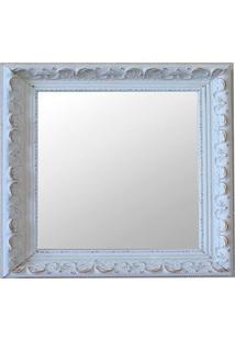 Espelho Moldura Rococó Raso 16283 Branco Patina Art Shop