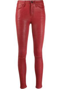 Frame Calça Skinny Cintura Média - Vermelho