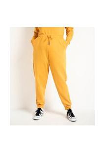Calça Jogger Em Moletom Com Amarração Na Cintura Curve & Plus Size | Ashua Curve E Plus Size | Amarelo | Eg