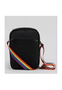 Bolsa Shoulder Bag Unissex Transversal Pequena Pride Com Bolso Preta