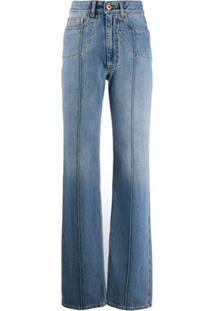Maison Margiela Calça Jeans Reta Cintura Alta - Azul
