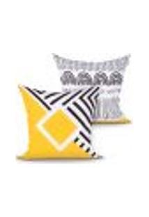 Jogo De Capa De Almofada Geométrica Amarela E Preta Estampada Kit Com 2 Unidades 45Cm X 45Cm Com Zíper