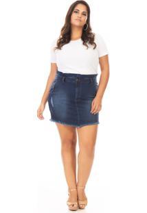 Saia Curta Jeans Tradicional Plus Size - Kanui