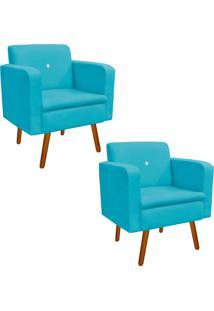 Kit 02 Poltrona Decorativa Emília Suede Azul Tiffany Com Strass - D'Rossi