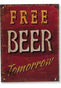 Quadro Em Madeira Free Beer 40X30Cm