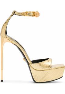 Versace Sandália Plataforma Medusa Com Efeito De Pele De Cobra - Dourado