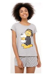 Pijama Manga Curta Estampa Garfield