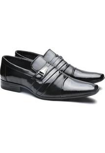 Sapato Social Versales Confort Detalhes Metal Tresse Masculino - Masculino-Preto