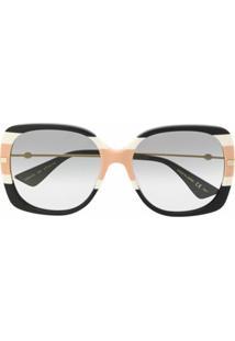 Gucci Eyewear Óculos De Sol Oversized Com Listras - Preto