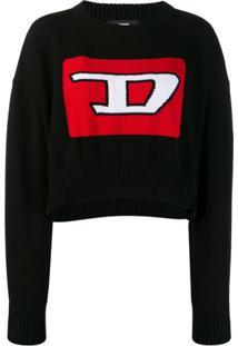 Diesel Suéter Cropped Com Padronagem 3D - Preto