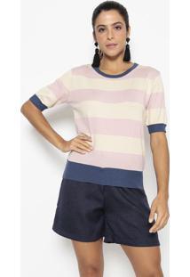 Blusa Em Tricã´ Listrada- Rosa Claro & Azul Marinho- Wool Line