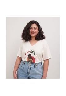 Blusa Em Algodão Estampa De Bem Comigo Curve & Plus Size | Ashua Curve E Plus Size | Branco | Gg