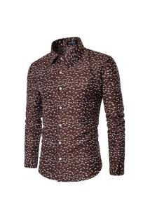 Camisa Masculina Slim Estampada - Marrom