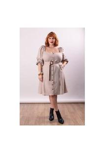 Vestido Curto Linho Almaria Plus Size Lady More Omb A Omb Bege