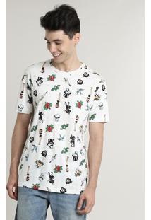 Camiseta Masculina Estampada Tatuagens Manga Curta Gola Careca Off White