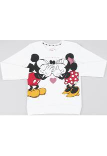Blusão Infantil Em Moletom Mickey E Minnie Manga Longa Off White