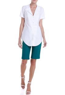 Camisa Dudalina Tricoline Feminina (Branco, 44)