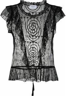 Dondup Blusa Translúcida Com Bordado - Preto