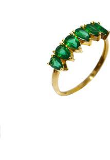Anel Cristais Mini Gotas Esmeraldas Prata Banhado A Ouro 18K - Verde - Feminino - Dafiti
