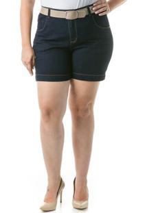 Shorts Confidencial Extra Plus Size Jeans Acetinado Feminino - Feminino-Marinho