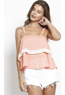Blusa Ampla Com Renda - Coral & Off White- Sommersommer