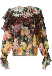 Dolce & Gabbana Blusa Com Estampa E Babado - Estampado