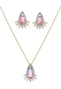 Conjunto Narcizza Semijoias Brinco E Colar Gota Cristal Multicollors - Rainbow Azul E Rosa - Ouro
