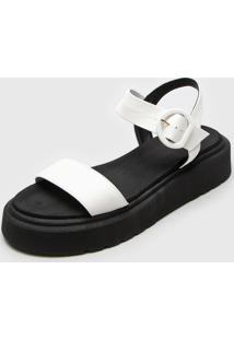 Sandália Flatform Zatz Bicolor Branco/Preto