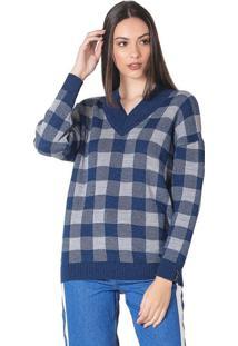 Blusa Feminina Em Tricô Biamar Xadrez Azul - U