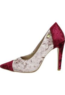 Scarpin Salto Alto Week Shoes Veludo Rosê/Marsala