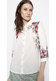Camisa Floral & Texturizada - Off White & PinkãŠNfase