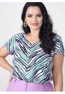 Blusa Estampada Almaria Plus Size New Umbi Decote